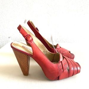 Kenneth Cole relation-chip red leather heels -8M